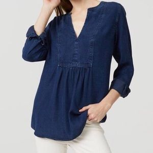 Loft The Softened Shirt Denim V-Neck Top